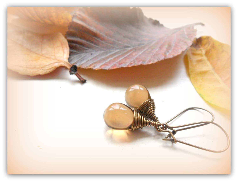 4104cb96ad7dd Teardrop Smokey Topaz Brown Czech Crystal Earrings Wire Wrap Earrings Etsy  UK Bridesmaid Earrings Glass Tear Drop Earrings
