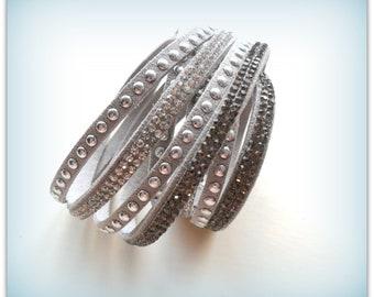 Light Grey Diamante Strap Bracelet Gray Diamante Cuff Bracelet Diamante Band Autumn Accessories Bracelet UK Shop