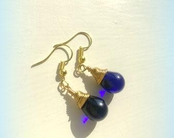 Teardrop Indigo Dark Blue Earrings Czech Crystal Earrings Etsy UK Blue Bridesmaid Earrings Glass Tear Drop Earrings Christmas Earrings