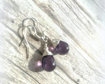 Teardrop Deep Purple Grape Czech Crystal Earrings Wire Wrap Earrings Bridesmaid Earrings Glass Tear Drop Earrings Christmas Earrings