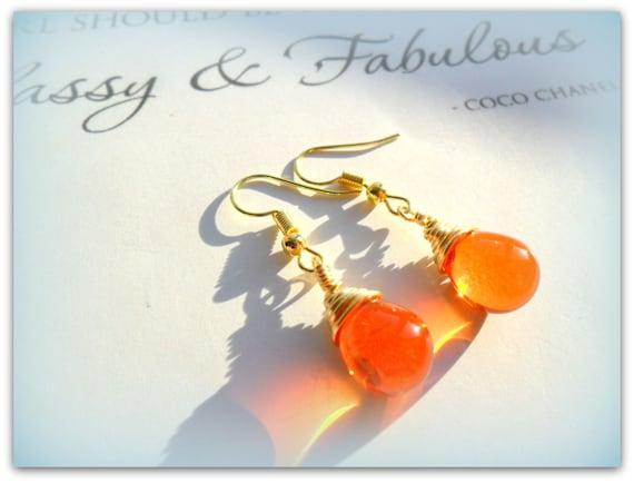 40a7c7b3e4bd8 Teardrop Flame Orange Tangerine Czech Crystal Earrings Etsy UK Bridesmaid  Earrings Orange Glass Tear Drop Earrings