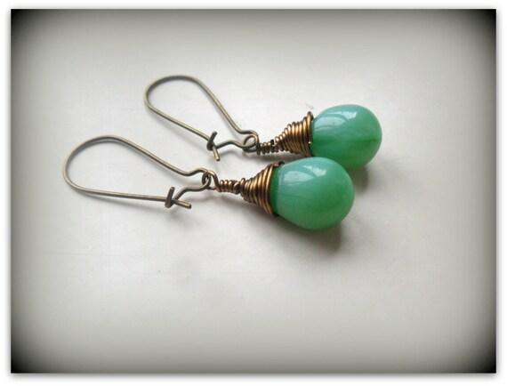 d0699912567ba Teardrop Opaque Jade Green Czech Crystal Earrings Wire Wrap Earrings Etsy  UK Bridesmaid Earrings Glass Tear Drop Earrings
