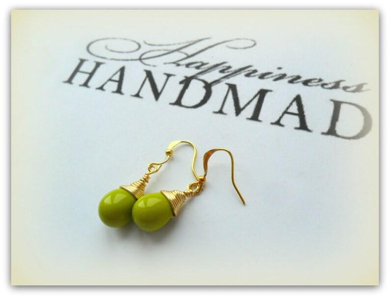 6f1c565253fe8 Teardrop Opaque Chartreuse Green Czech Crystal Earrings Gold Wire Wrap Lime  Earrings Etsy UK Bridesmaid Earrings Glass Tear Drop Earrings