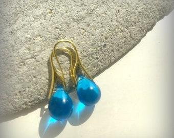 Teardrop Clear Azure Blue Czech Crystal Earrings Azure Smooth Gold Earrings Etsy UK Bridesmaid Earrings Clear Blue Glass Tear Drop Earrings