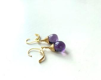 Teardrop Purple Grape Czech Crystal Earrings Wire Wrap Earrings  Etsy UK Bridesmaid Earrings Glass Tear Drop Earrings Christmas Earrings