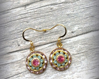 Vintage Austrian Swarovski Crystal Round Flower Rose Ornate Earrings Three Layered Raised Drop Earrings UK Christmas Gift Prom Earrings