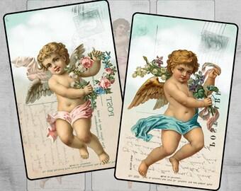 Printable gift tags Digital labels  Paper craft Paper goods Instant download Digital collage sheet - ANTIQUE ANGELS