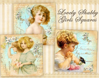 Vintage children Printable download Digital collage sheet 2x2 inch squares 1x1 inch squares Vintage images Decoupage images scrapbook