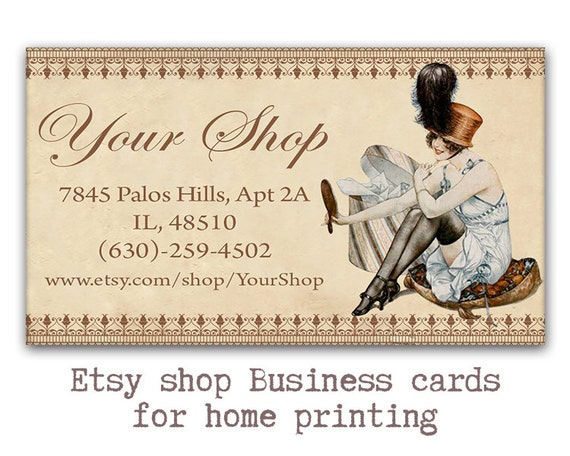 Vintage sewing business cards etsy shop cards printable reheart Image collections