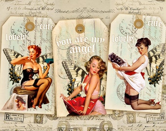 Digital Collage Sheet - Digital Gift Tags - Vintage Pinup Girls - Printable Download - Best for scrapbooking - CUTE PINUP GIRLS