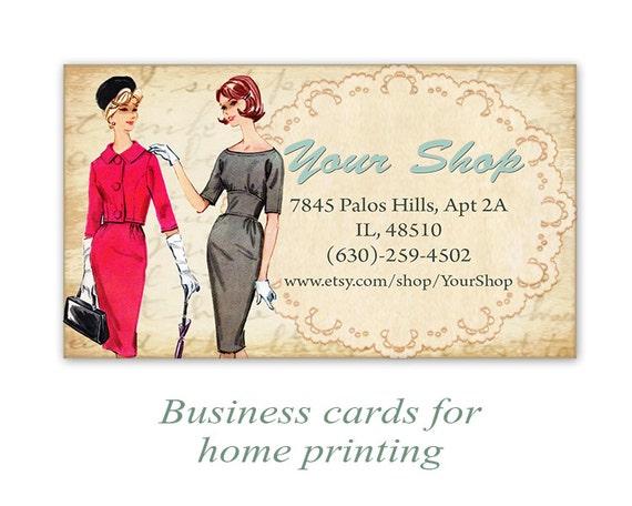 Vintage Mode Visitenkarten Etsy Shop Karten Auf Digitale Collage Blatt