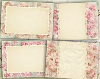 Shabby Roses Pink Greeting Cards - Digital Collage Sheet best for paper craft, jewelry holders, digital backgrounds - PINK SHABBY ROSES