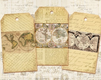 Antique maps tags Vintage maps tags world maps Vintage tags Old maps on Digital collage sheet