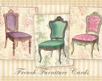 French furniture Greeting cards Printable cards Vintage cards Digital cards on Digital collage sheet for Paper craft - FRENCH CARDS