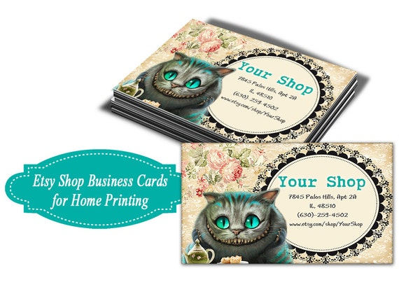 Alice Cheshire Cat Business Cards On Digital Collage Sheet