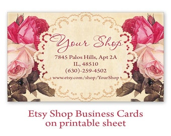 Shabby roses Business cards Digital Printable Personalized Pre-made business cards on Digital collage sheet - SHABBY BUSINESS CARDS
