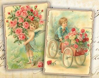 Digital Collage Sheet - Greeting Cards - Digital Backgrounds - Jewelry Holders - Paper Craft - Instant Download - VINTAGE CHILDREN CARDS