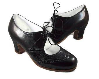 Eur 39 Fine Quality Gina Black Patent Leather Peep Toe Pumps Gr Kleidung & Accessoires