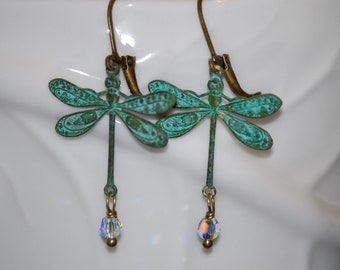 Verdigris dragonfly earrings with crystal, verdigris and crystal, dragonfly earrings, nature inspired, gift