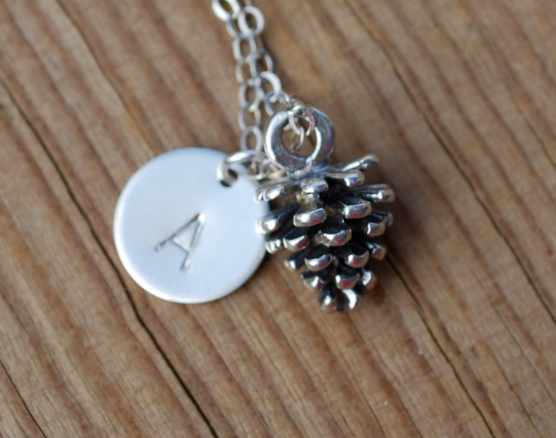 gift baby pinecone necklace initial necklace Sterling silver pinecone necklace silver pinecone and initial necklace