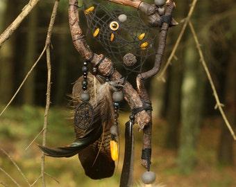 Black Drift Wood Dream Catcher Owl Feather Dream Catcher Amber Wall Hanging Pagan Dream Catcher Black Pagan Wall Hanging Altar Decor
