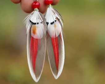 Red Feather Earrings Small Red and Gray Feather Earrings Mini gift for Women