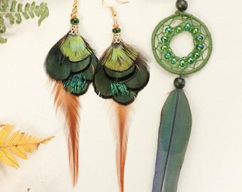 Green Feather Earrings Long Green Peacock Feather Earrings Gift for Women