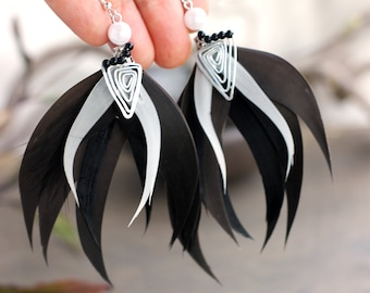 Black Feather Earrings Black and white Shamanic Feather Earrings Witchy Earrings Gift for Women