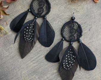 Halloween Earrings Black Feather Earrings Black Witch Earrings Black Halloween Earrings Gift for Women