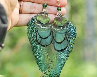 Green Feather Earrings Peacock Feather Earrings Extra Long Green Feather Earrings Peacock Feather Earrings
