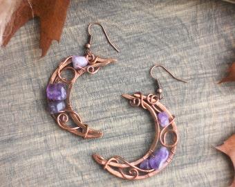 Copper Wire Earrings with purple amethysts Moon Earrings Witchy Copper Earrings Copper Wire Pagan Earrings