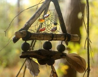 Black Drift Wood Dream Catcher Black Pagan Wall Hanging Amber Dream Catcher Triangle Dream Catcher Gift for Family