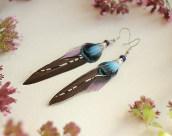 Small Black Feather Earrings Violet Minimalist Feather Earrings Mini Blue Earrings Gift for Women Small Blue Gift for mom