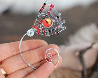 Halloween Ear Cuff Spider Web Ear Cuff Gothic Silver Ear Wrap Witch Dragon Eye Ear Cuff