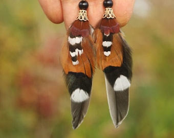 Brown Feather Earrings  Brown and White Feather Earrings  Small Brown Feather Earrings Gift for Women