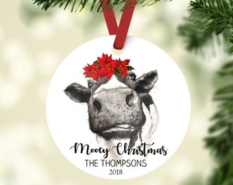 personalized cow christmas ornament personalized family ornament with cow and poinsettia christmas ornament mooey christmas ornament