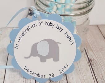 Elephant party FAVOR TAGS Thank you tags Gift tags personalized baby shower boy blue party decorations