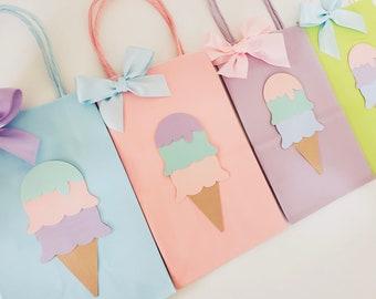 Ice Cream Favor Bags. Goody Bag. Ice cream party decor. Ice Cream Party Theme.