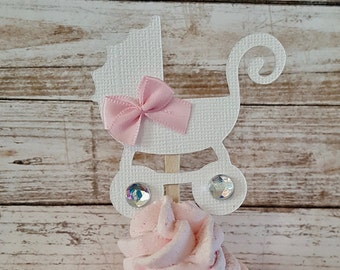 Mini Stroller Carriage Cupcake cake toppers baby shower decoration baby carriage stroller toppers girl boy neutral