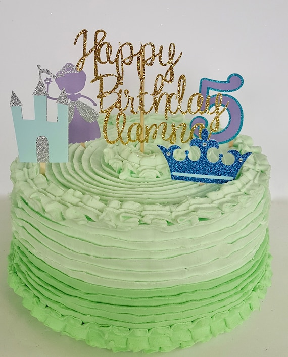 Princess Royal Cake Topper Personalized Age Crown Castle Happy