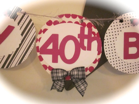Happy 40th Birthday Banner Party Sign Decorations Red
