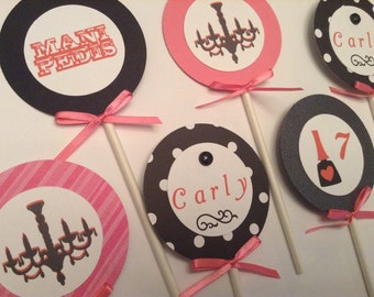 Spa Makeover Salon Birthday Party Cupcake Toppers