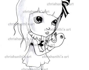 INSTANT DOWNLOAD Digital Digi Stamps..by Chrishanthi's art,Fly my bird.