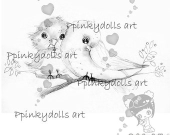 INSTANT DOWNLOAD Digital Digi Stamps..by Chrishanthi's art Love in the air''.