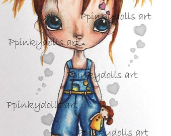 INSTANT DOWNLOAD Digital Digi Stamps..by Chrishanthi's art,Me and my doll''
