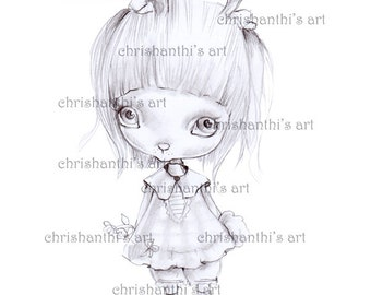INSTANT DOWNLOAD Digital Digi Stamps,''Rabbity''..painted with pencil and shadows effects ,for realistic painting, by Chrishanthi's art