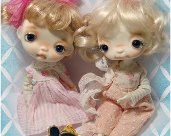 Loulou'& Bebe ,Full set dolls ,in a vintage handcrafted box, collectible BJD' resin OOAK, ball joint doll by Chrishanthi ''Ppinkydolls''