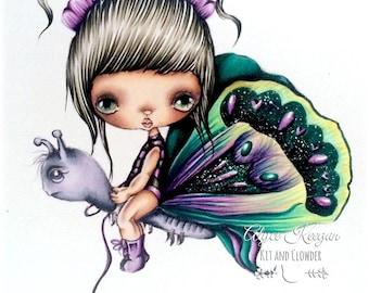 INSTANT DOWNLOAD Digital Digi Stamps..by Chrishanthi's art,Butterfly girl.
