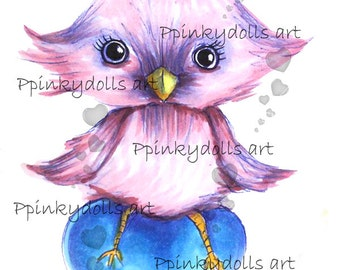 INSTANT DOWNLOAD Digital Digi Stamps..by Chrishanthi's art,Heart chick''
