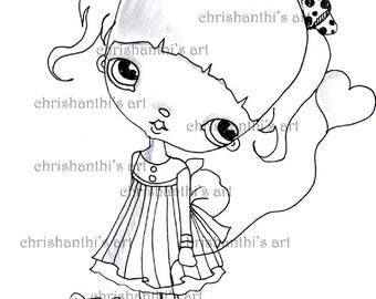 INSTANT DOWNLOAD Digital Digi Stamps..by Chrishanthi's art,Kitty.